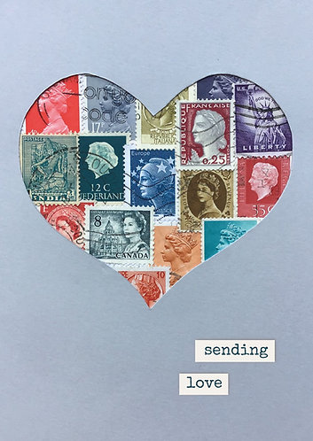 Art collage using postage stamps - print postcard