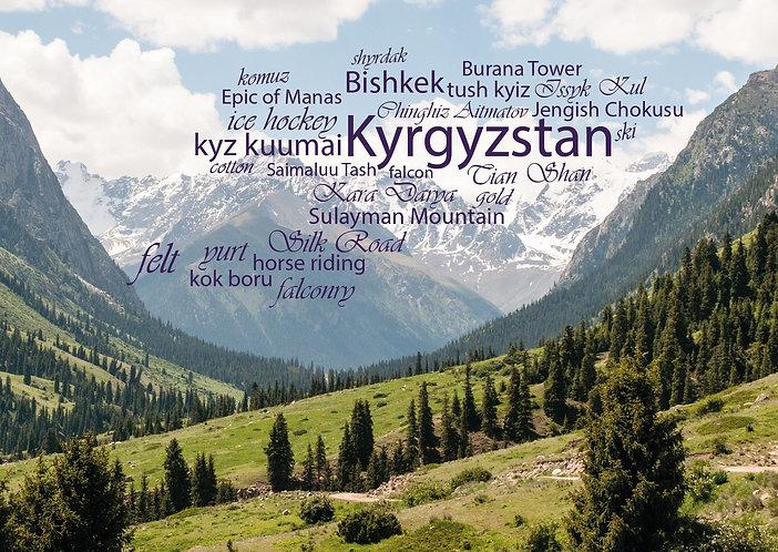 Kyrgyzstan WordCloud postcard
