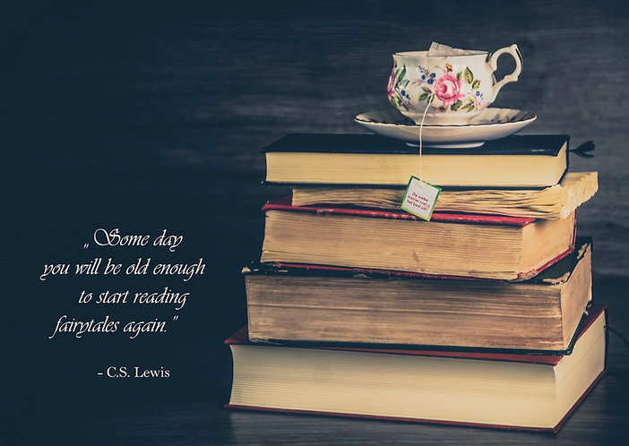 Books and a cup of tea - quote postcard