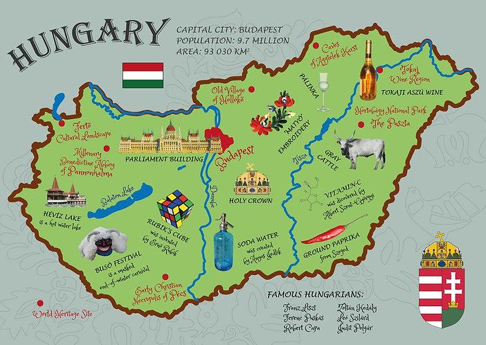 Hungary map postcard - illustration