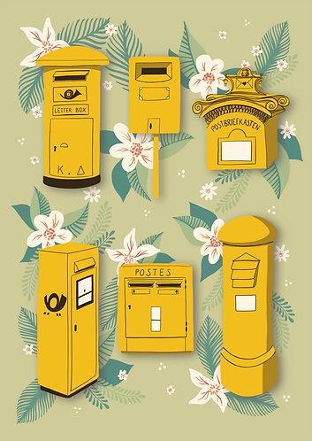 Yellow Postboxes - Postcard
