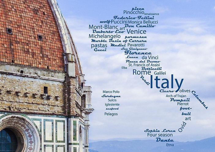 Italy WordCloud postcard