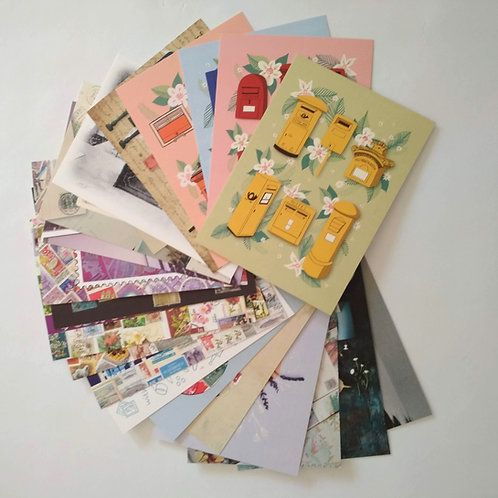 Postcard Bundle of 20 postal themed postcards by PostcardSisters