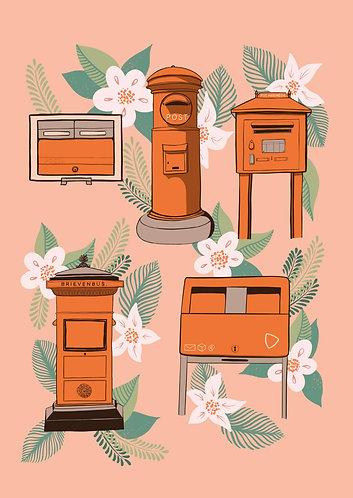 Orange Postboxes - Postcard