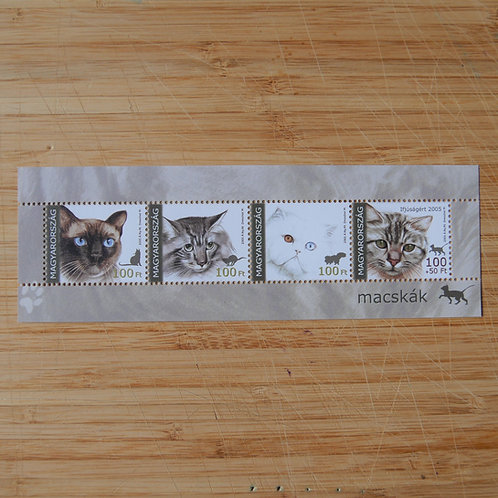 Cats - stamps from Hungary - stamp mini sheet