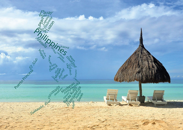 The Philippines WordCloud postcard