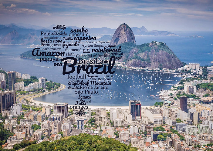 Brazil WordCloud postcard