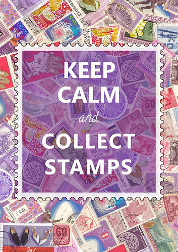 """""""Keep Calm & Collect Stamps"""" Postcard"""