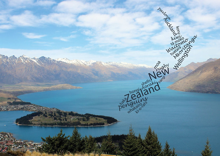 New Zealand WordCloud postcard