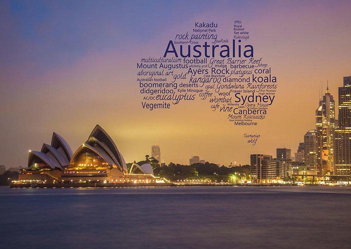 Australia wordcloud postcard by PostcardSisters