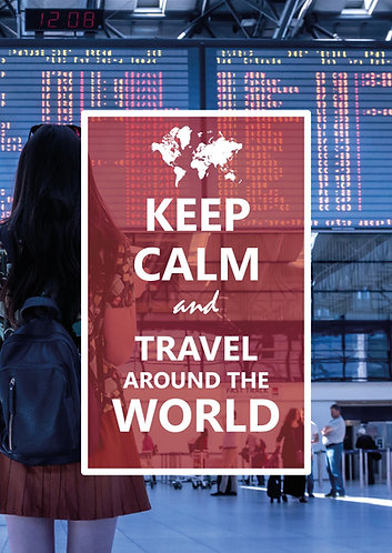 """Keep Calm & Travel around the World"" Postcard"