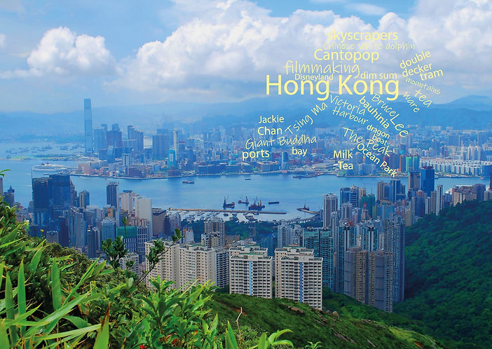 Hong Kong WordCloud postcard