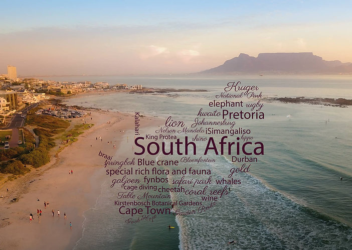 South Africa - WordCloud Postcard