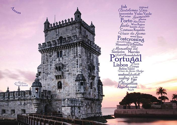 Portugal WordCloud postcard