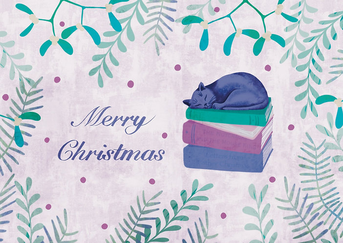 Cat and Books - Christmas Postcard