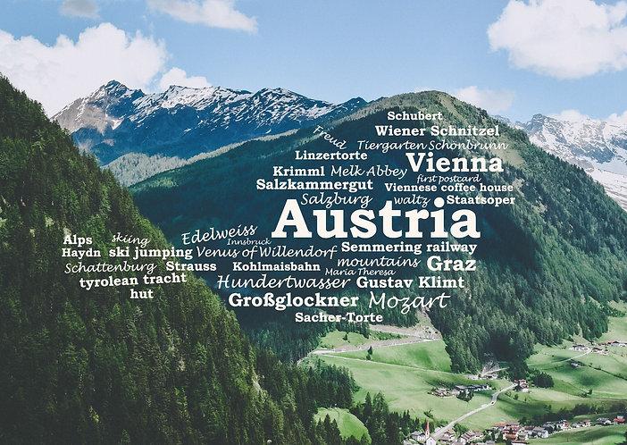 Austria WordCloud postcard
