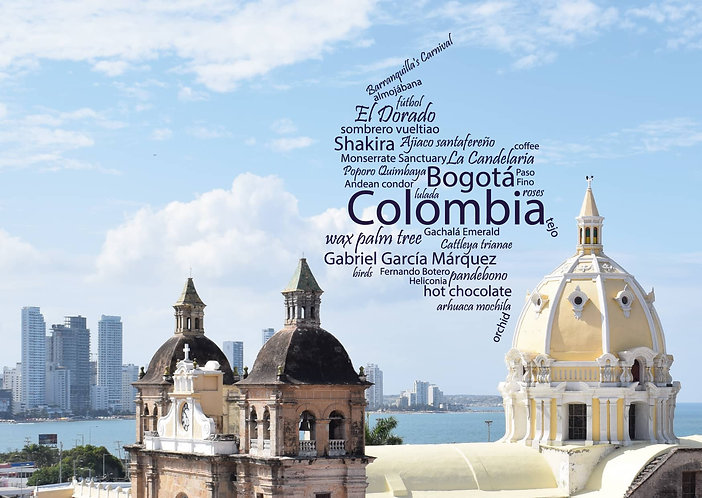 Colombia - WordCloud Postcard