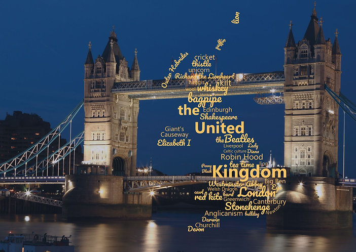 United Kingdom WordCloud postcard