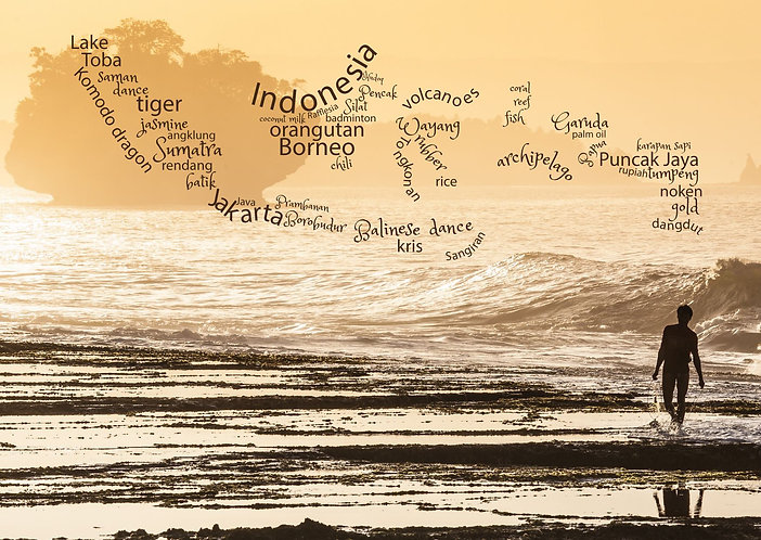 Indonesia WordCloud postcard