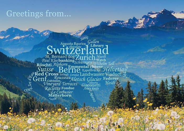 Switzerland WordCloud postcard