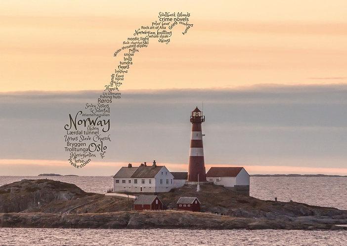 Norway WordCloud postcard
