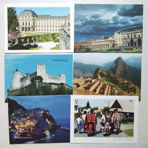 6 pcs Postcard Bundle - World Heritage Sites