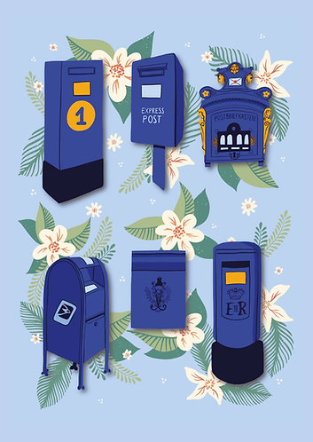 Blue Postboxes - Postcard
