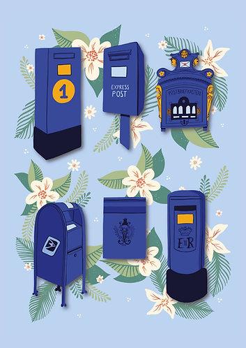 Blue Postboxes - Postcard