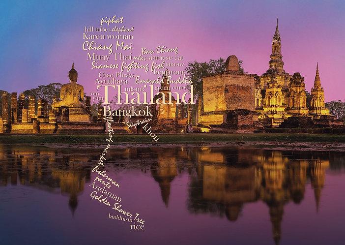 Thailand WordCloud postcard
