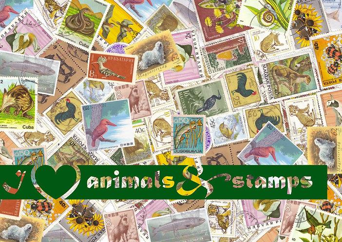 """I love animals"" Stamp Postcard"