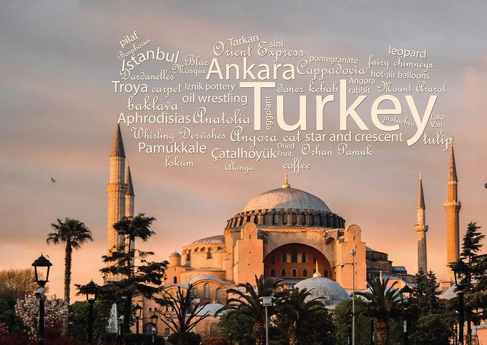 Turkey WordCloud postcard