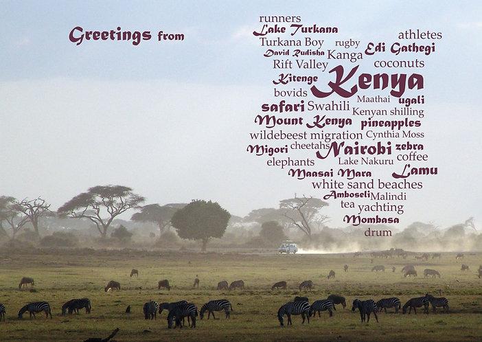 Kenya WordCloud postcard