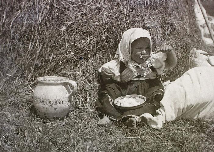 old photo postcard - girl