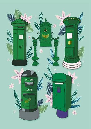Green Postboxes - Postcard