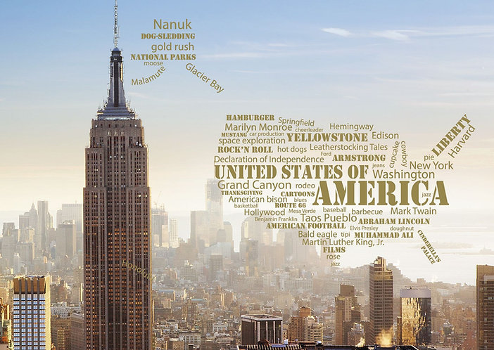 United States of America WordCloud postcard