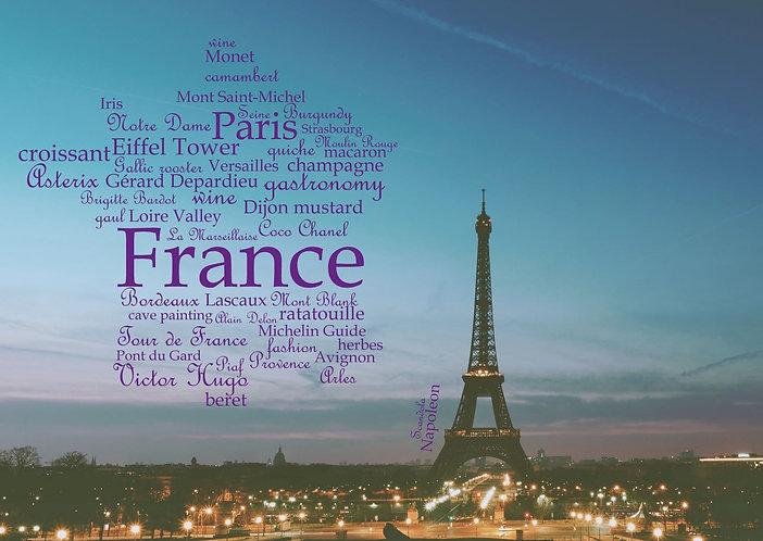 France WordCloud postcard