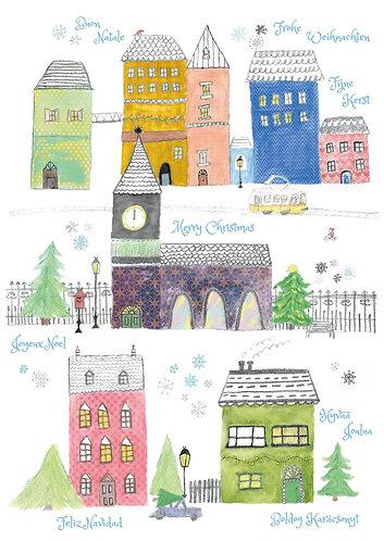Houses - Merry Christmas - Postcard