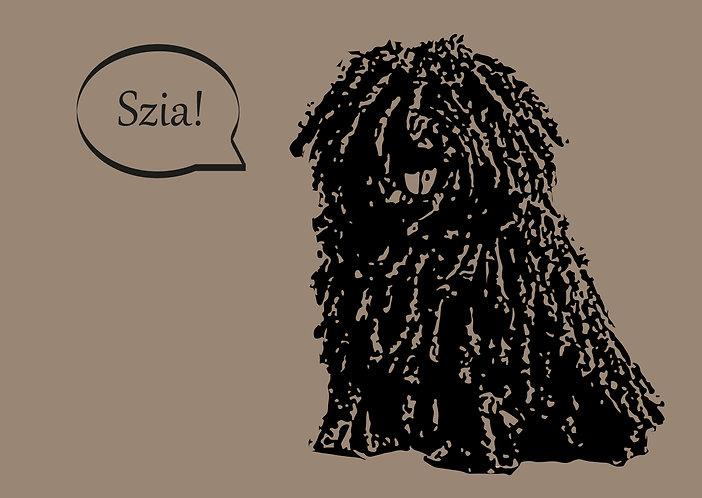 Dog kraft postcard - puli