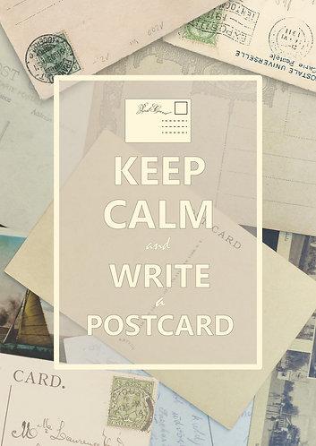 """Keep Calm & write a postcard"" Postcard"