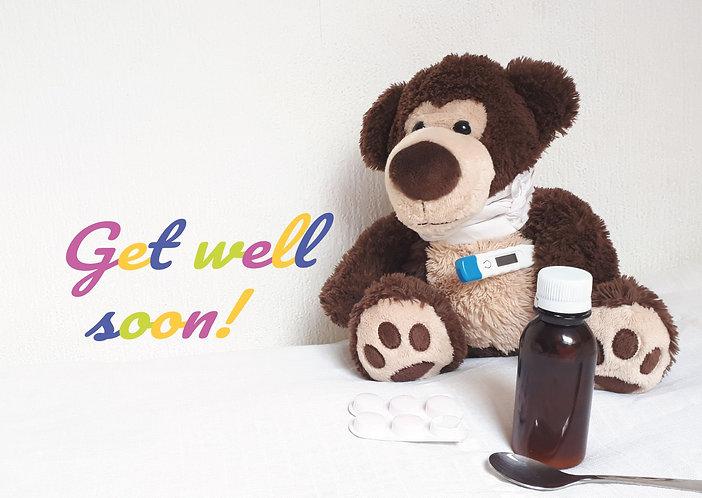 Get well soon! teddy bear postcard