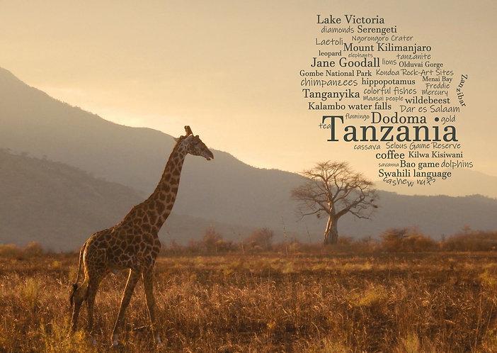 Tanzania WordCloud postcard