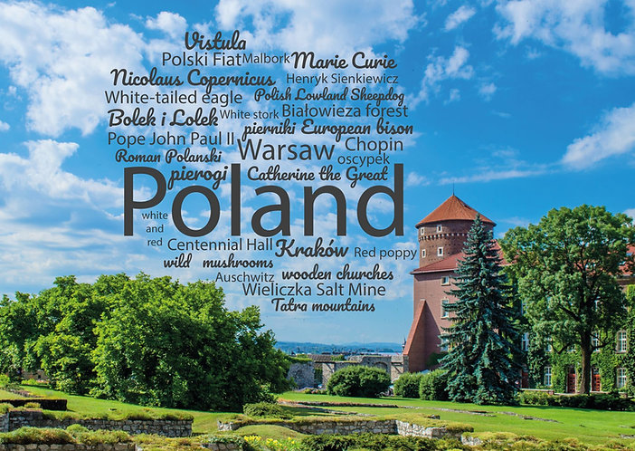 Poland WordCloud postcard