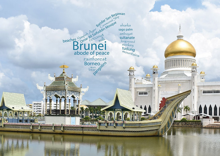Brunei WordCloud postcard