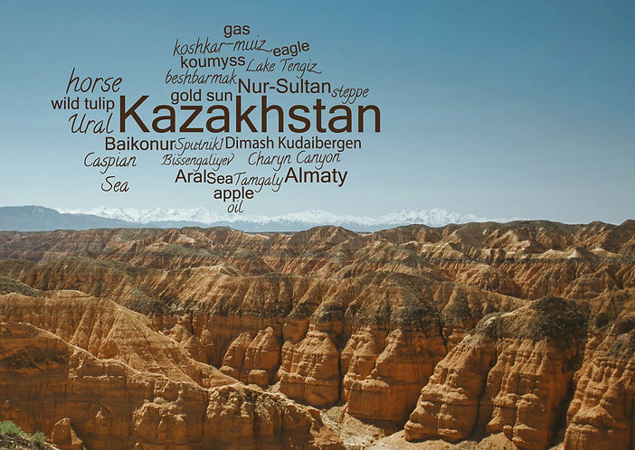 Kazakhstan WordCloud postcard