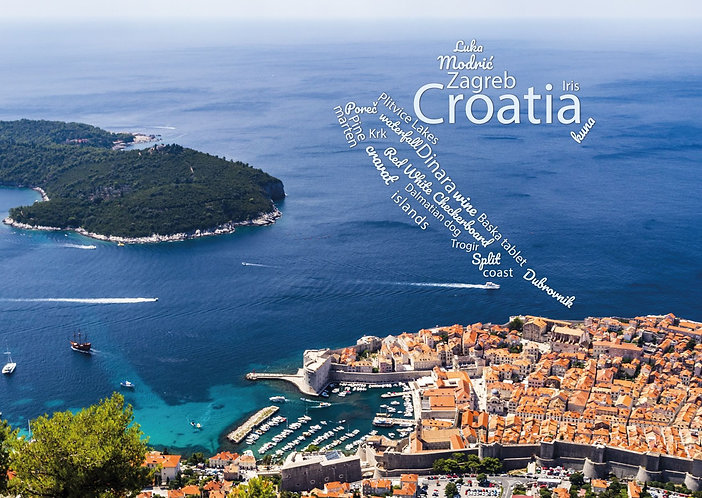 Croatia WordCloud postcard