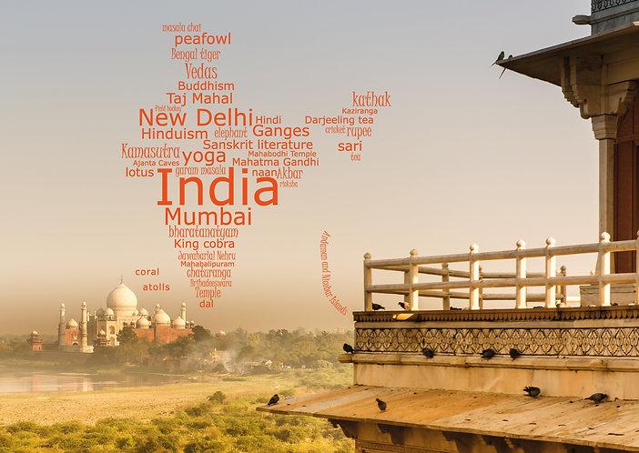 India WordCloud postcard