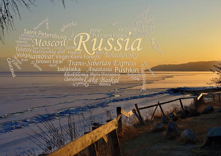 Lake Baikal, Russia - WordCloud postcard