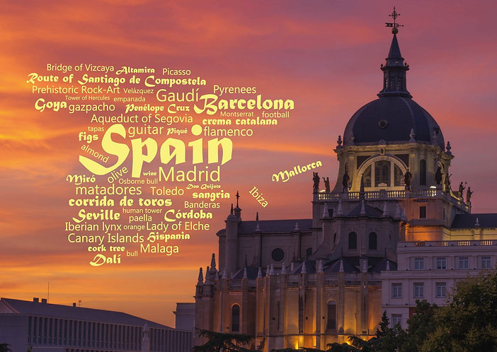 Spain WordCloud postcard