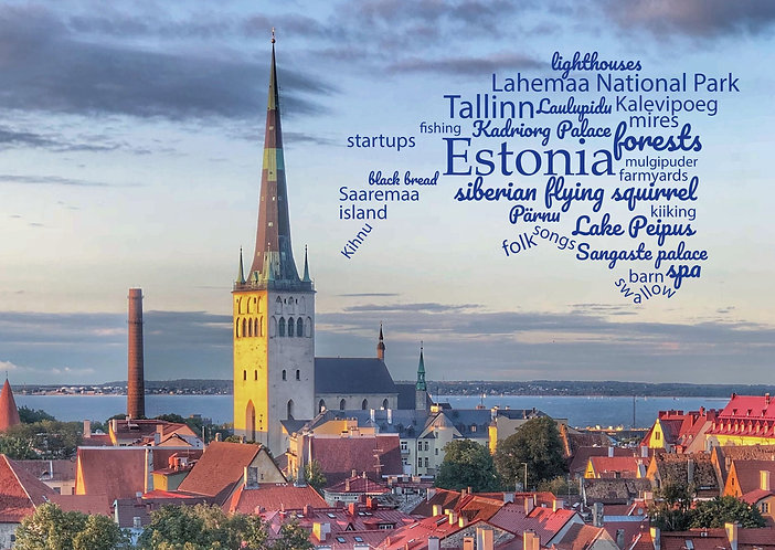Estonia WordCloud postcard