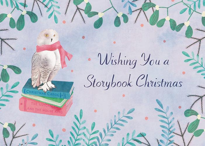 Snowy Owl and Books - Christmas Postcard